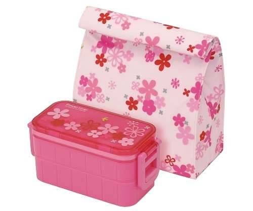 insulated bag ice pack 2 tier bento lunch box flower set for bent. Black Bedroom Furniture Sets. Home Design Ideas