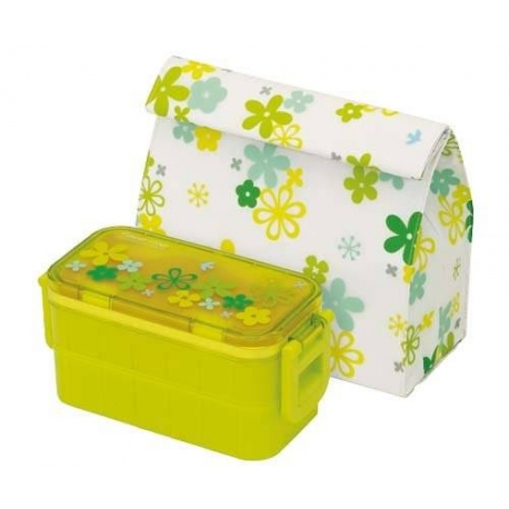 Bento Lunch Box Designer Green Flower 2 Tier Set