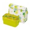 Bento Lunch Box Designer Green Flower 2 Tier Set