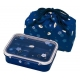 4 Sections Flat Food Bento Lunch Box with Bag Small 550ml Lucky Rabbit Blue