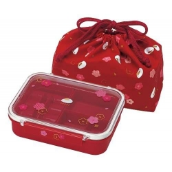 4 Sections Flat Food Bento Lunch Box with Bag Small 550ml Lucky Rabbit Red