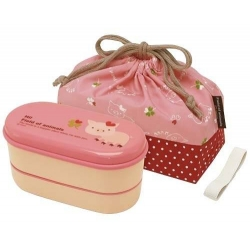 Japanese 2-tier Bento Lunch Box Set with Strap Pink Pig