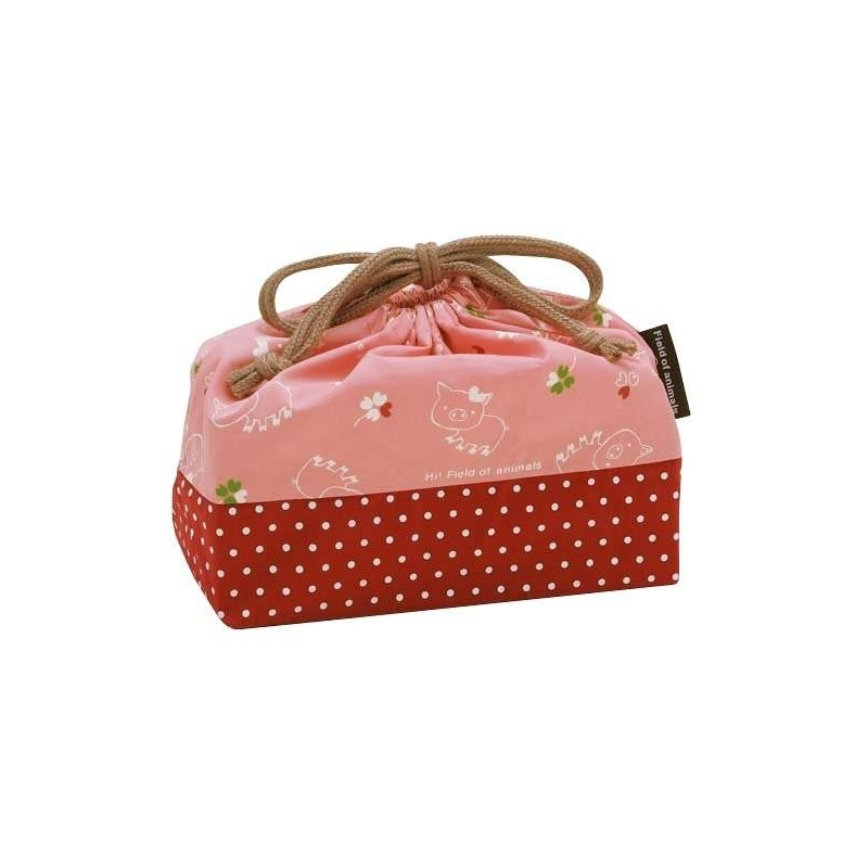 japanese 2 tier bento lunch box set with strap pink pig. Black Bedroom Furniture Sets. Home Design Ideas