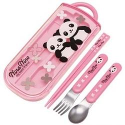 Japanese Bento Fork Spoon Chopsticks and Case 4 in 1 Panda Pink