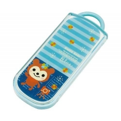 Japanese Bento Fork Spoon Chopsticks and Case 4 in 1 Lucky Bear
