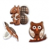 Food Decorating Party Ring Squirrel Owl 8pcs