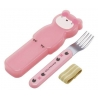 Japanese Bento Fork with Case and Strap Pink