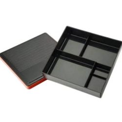 Traditional Lacquer Bento Box Tray with Lid Shiny Black