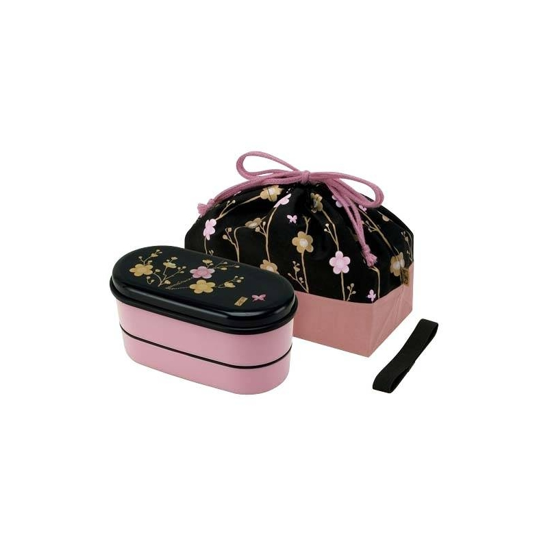 japanese bento lunch box designer set slim pink flower for out of. Black Bedroom Furniture Sets. Home Design Ideas