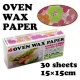 Flower Designed Wax Paper Sandwich Wrapping Sheets 30 pcs