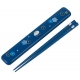 Japanese Lacquered Chopsticks Flower and Bunny Blue