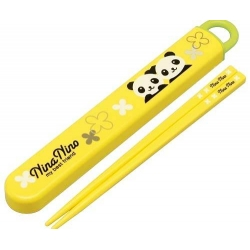Japanese Bento Chopsticks with Case Panda Yellow