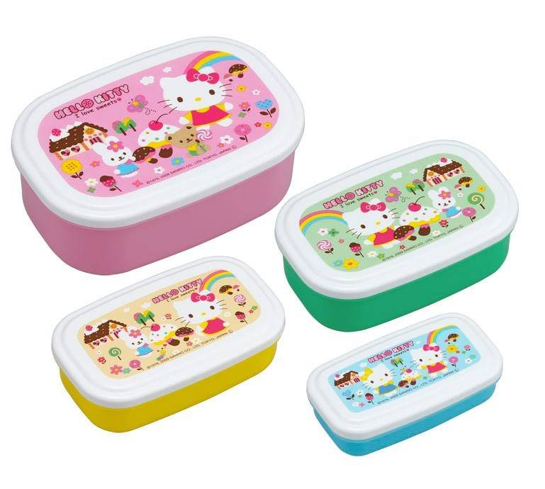 microwavable nested food container 4 bento boxes hello kitty for. Black Bedroom Furniture Sets. Home Design Ideas