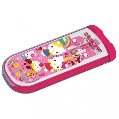Japanese Bento Fork Spoon Chopsticks and Case 4 in 1 Hello Kitty