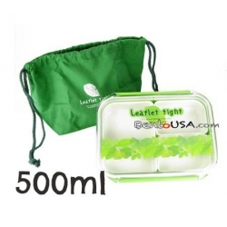 3 Sections Flat Food Storage Bento Lunch Box with Bag Small 500ml