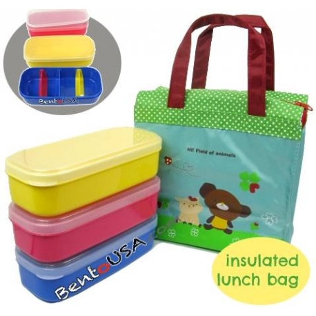 insulated bag 3 bento lunch boxes with removable dividers. Black Bedroom Furniture Sets. Home Design Ideas