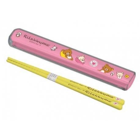 Rilakkuma Chopstick and Case Pink And Yellow
