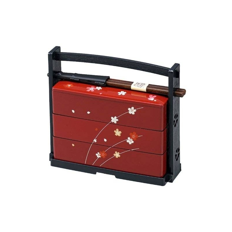 japanese bento box lunch 3 tier sakura for bento box all. Black Bedroom Furniture Sets. Home Design Ideas