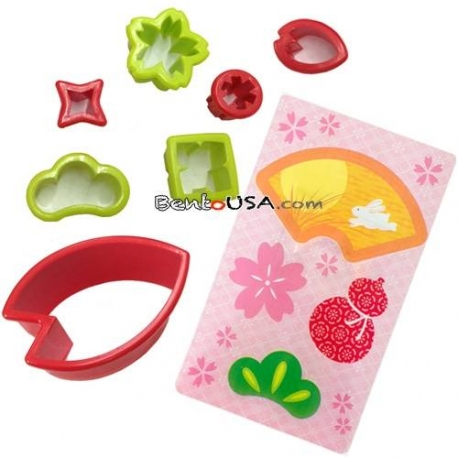 Japanese Bento Decoration Vegetable Cutter Set 7pcs with Baran Sakura