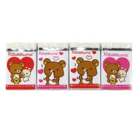 Cute Stationery Rilakkuma Bear Pencil Eraser set of 4