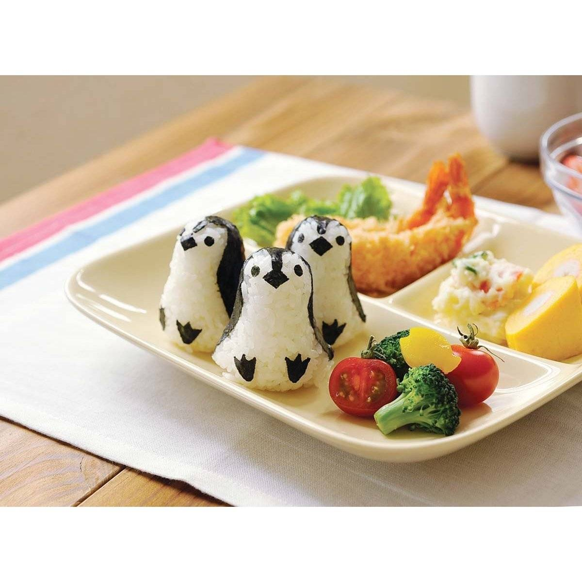 baby 3d penguin bento rice mold and seaweed nori cutter set for e. Black Bedroom Furniture Sets. Home Design Ideas