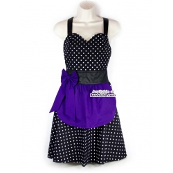 Cute Kitchen Apron Lightweight Cotton Polka Dots with Purple Bow