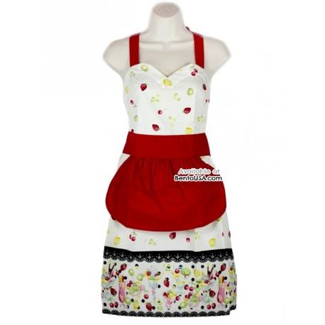 Cute Kitchen Apron Lightweight Cotton Strawberry Cream