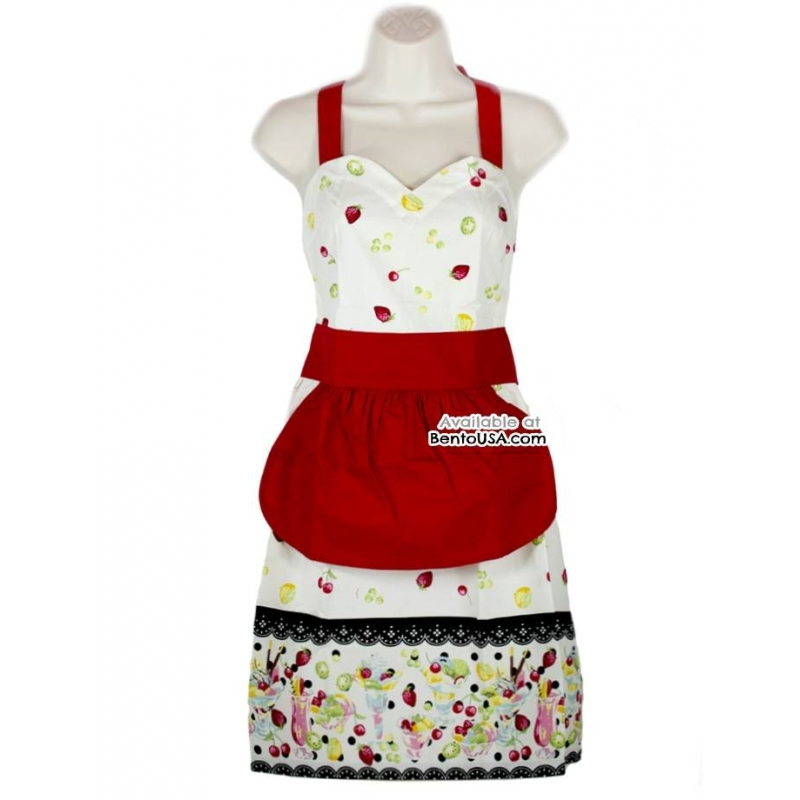 Cute kitchen apron lightweight cotton strawberry cream for for Apron designs and kitchen apron styles