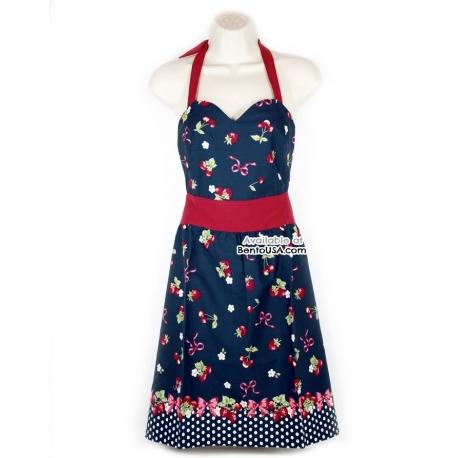 Cute Kitchen Apron Lightweight Cotton Strawberry Blue