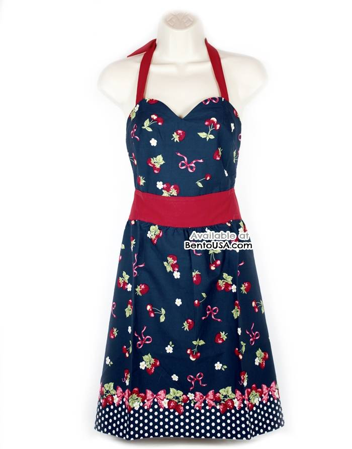 cute kitchen apron lightweight cotton strawberry blue for apron
