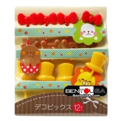 Japanese Bento Cute Food Pick Hat Ear Bow 12P