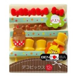 Japanese Bento Cute Food Pick Hat Ear Bow 12P