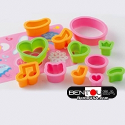 Value Set Bento Decoration Ham Cheese Cutter Set 12pcs with Baran Heart