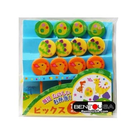 Japanese Bento Cute Food Pick Dinosaur Dino Eggs 12P
