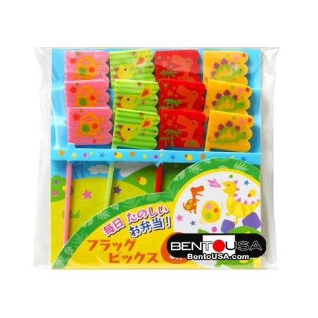 Japanese Bento Cute Food Pick Dinosaur Dino Flag 12P