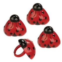 Food Decorating Party Ring Ladybug Heart 8pcs