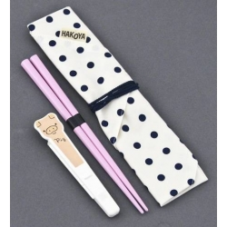 Japanese Bento Pink Chopsticks with Case and wrap Piggy