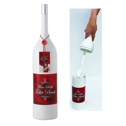 Wine Bottle Toilet Brush Set White