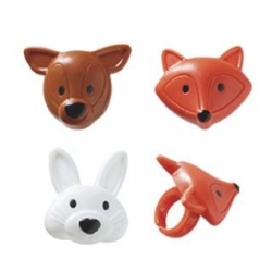 Food Decorating Party Ring Fox Bunny Dear 6 pcs