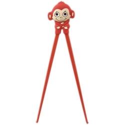 Japanese Assisted Training Chopsticks Silicone Monkey Red