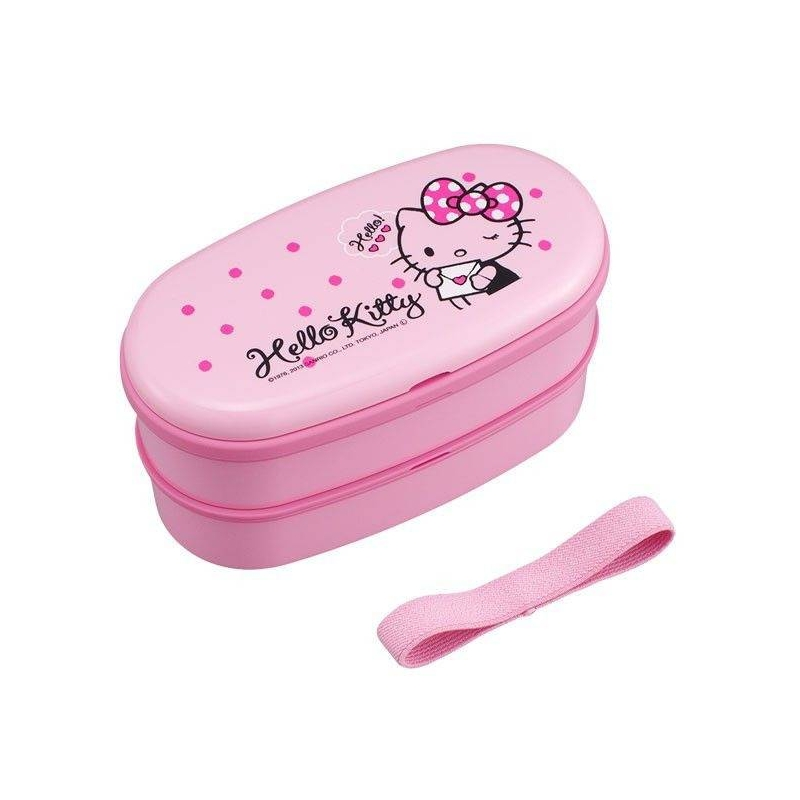 japanese 2 tier hello kitty bento lunch box polka dot ribbon for b. Black Bedroom Furniture Sets. Home Design Ideas
