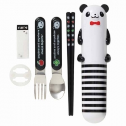 Japanese Panda Bento Cutlery Set Fork Spoon Chopsticks with Case