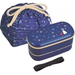 Bento Lunch Box Designer Set Blue Rabbit Set