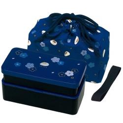 Bento Lunch Box Designer Set Blue Rabbit Set Rectangle Blossom
