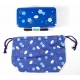 Bento Lunch Box Designer Set Blue Rabbit Set Rectangle Blossom