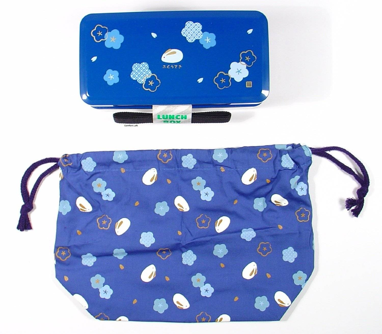 593b87d31a Bento Lunch Box Designer Set Blue Rabbit Set Rectangle Blossom for...