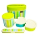 Stainless Steel Lunch Box set 560ml Green Stripe with Fork