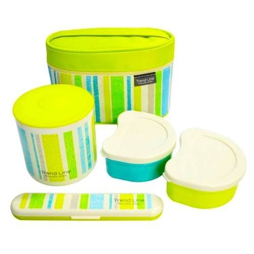 stainless steel lunch box set 560ml green stripe with fork for ben. Black Bedroom Furniture Sets. Home Design Ideas