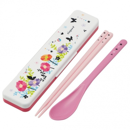 Japanese Flower Bento Cutlery Set Spoon Chopsticks with Case