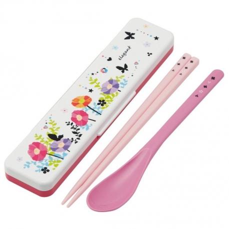 Japanese Flower Bento Cutlery Set Spoon Chopsticks with Case